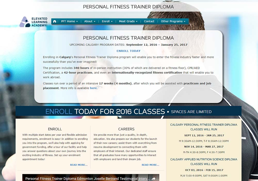 Elevated Learning Academy Custom WordPress Template developed by Zyris - Fitness Page