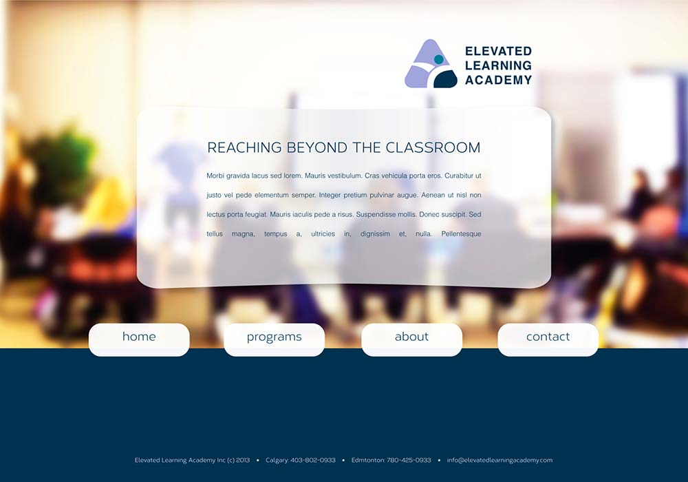 Elevated Learning Academy Custom WordPress Template developed by Zyris - Homepage