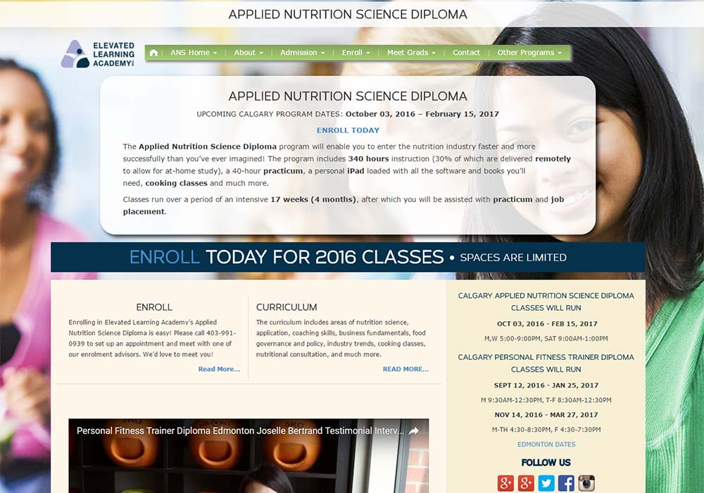 Elevated Learning Academy Custom WordPress Template developed by Zyris - Nutrition Page